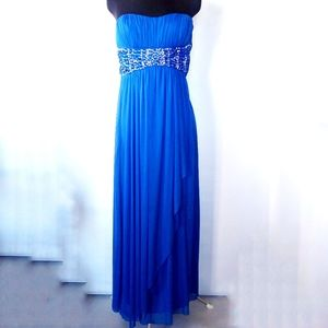 Royal blue Grecian prom dress with rhinestone